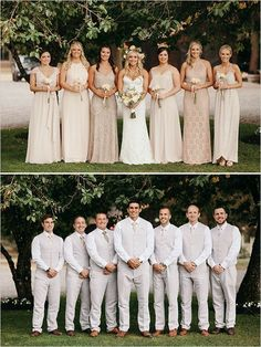 Take a look at the best neutral bridesmaid dresses in the photos below and get… Wedding Party Dresses, Wedding Suits, Wedding Attire, Chic Wedding, Trendy Wedding, Perfect Wedding, Dream Wedding, Wedding Country, Fall Wedding