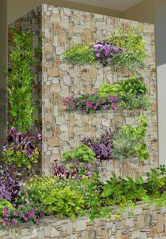 diseño de jardines contemporaneos - mampara pared con arreglos de plantas