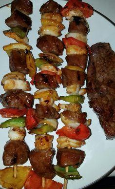 Steak and Shrimp kabobs. #magicsteakdust #teriyaki Wunderrub.net