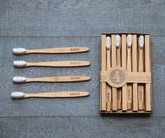 Perfect for visitors. Bamboo toothbrushes in sets of four. $12.50
