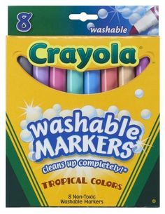 Crayola 8ct Washable Tropical Colors Conical Tip by Crayola. Save 33 Off!. $4.00. Teacher preferred. Bright colors. Fun coloring. Tropical colors. Made in America. From the Manufacturer                Crayola 8ct Washable Tropical Colors Conical Tip. Tropical colors. Teacher preferred.                                    Product Description                8 Crayola  Tropical color markers wash from skin and most fabrics, inviting creativity and reducing clean-up.