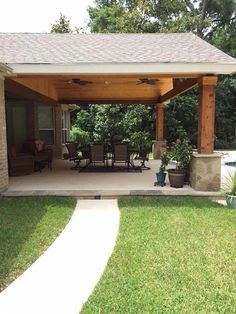 pergola with roof attached to house best patio roof ideas on outdoor pergola bac. pergola with roo Backyard Patio Designs, Backyard Pergola, Backyard Landscaping, Pergola Kits, Outdoor Pergola, Diy Patio, Pergola Ideas, Outdoor Pavilion, Backyard Porch Ideas