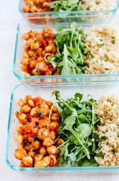 Chickpea Quinoa Bowls (Meal Prep) Spicy Chickpea and Quinoa Bowls perfect for meal prep!Spicy Chickpea and Quinoa Bowls perfect for meal prep! Best Meal Prep, Lunch Meal Prep, Healthy Meal Prep, Healthy Eating, Healthy Food, Meal Prep Bowls, Healthy Lunches, Dinner Healthy, Healthy Chicken