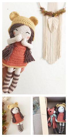 Knitting Dolls Free Patterns, Knitted Dolls Free, Crochet Doll Clothes, Amigurumi Patterns, Doll Patterns, Crochet Doll Tutorial, Crochet Doll Pattern, Crochet Patterns, Cute Crochet