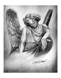 Fallen Angel Pencil Drawing Art Print by Steve by SteveSkellyART