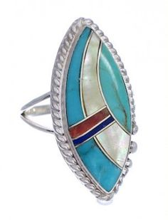 Genuine Sterling Silver Multicolor Inlay Ring Size 8-1/4 UX33777