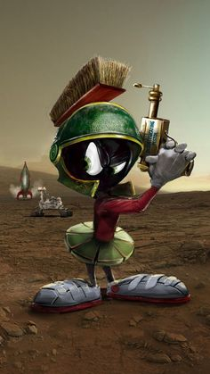 Everyone's favourite Looney Tunes Martian the lovable dope Marvin. Looney Tunes Characters, Classic Cartoon Characters, Looney Tunes Cartoons, Favorite Cartoon Character, Old Cartoons, Classic Cartoons, Cartoon Art, Character Art, Character Design