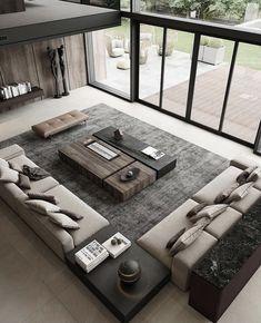 "INTERIOR PORN on Twitter: ""Before After… "" Home Room Design, Dream Home Design, Modern House Design, Home Interior Design, Living Room Designs, Living Room Interior, Home Living Room, Luxury Apartments, Luxury Homes"