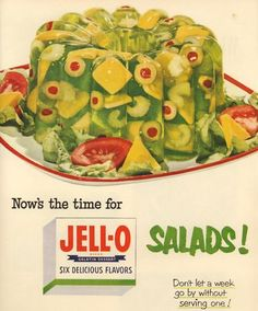 Come to the table at your own risk. There are things in this jello salad that appear to be staring at us through the thin gelatin veneer. Those tomatoes on the side look at bit like claws, the one at the front is a small-toothed maw, and damn it, I can't take all those pimentos staring at me! *screams and runs* #Jell-O
