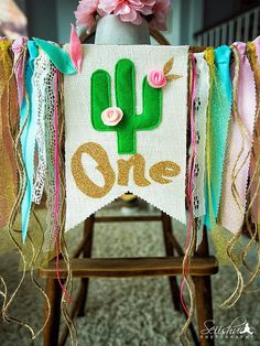 Girl Birthday Theme Cactus, Birthday Party Banner, Cactus Birthday Highchair, Garland Pink And Gold First Banner Cactus Smash Cake Twin First Birthday, Girl Birthday Themes, Birthday Numbers, First Birthday Parties, Birthday Decorations, Birthday Ideas, Baby Birthday, Birthday Highchair, Mexican Birthday