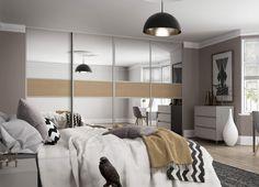 To help make your room feel larger use Classic 3 panel sliding wardrobe doors with & Premium Midi: 3 panel Fineline Grey Mirror / Nebraska Oak doors with ...