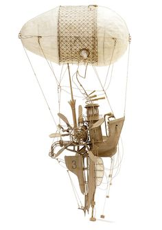 Imagined flying machines constructed meticulously from cardboard