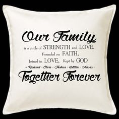 Our Family Founded on Faith - Christian themed Cushion Printed Cushions, Christian Clothing, Love And Marriage, Flourish, Faith, Throw Pillows, Prints, Clothes, Outfits