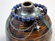 Hey, I found this really awesome Etsy listing at https://www.etsy.com/listing/193716972/angel-8-bracelet-dumortierite-with-black