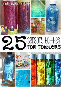 25 Sensory Bottles for Toddlers featured on Play Ideas