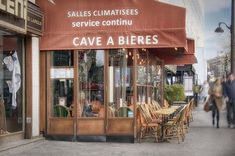 Terrace In Paris by Cora Niele Shop Fronts, Store Design, Pop Up, Terrace, Around The Worlds, Restaurant, France, Fine Art, Paris