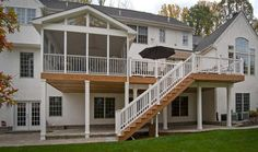 Elevated screened porch with deck and stairs my ideal new deck