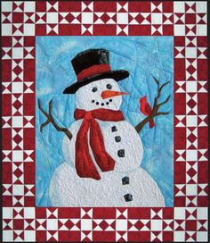 Mr. Frosty, a paper-pieced snowman quilt pattern by Cynthia England.  Class at the 2016 Road to California.