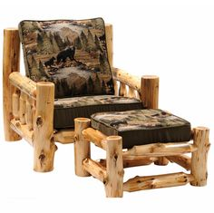 arm chair with bear material | Cedar Lounge Chair and Ottoman - Bradley Fabric | Rocky Mountain Cabin ...