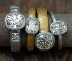 Diamond engagement rings by Malcolm Betts~Simple Beauty!!