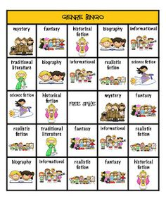 GENRE BINGO, could be used of weekly/monthly Reading Log. Students cross off a box after reading a book with the goal of getting 5 boxes in a row, column or diagnoally across. Helps encourage readers to branch out in their selections. Library Lesson Plans, Library Skills, Library Lessons, Reading Lessons, Reading Skills, Library Ideas, Genre Lessons, Library Rules, Library Week