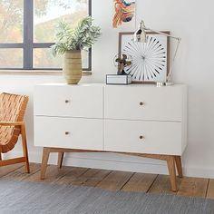 """Tall Storage 4-Drawer Dresser - White, $649, 52""""w x 19""""d x 33.75""""h."""