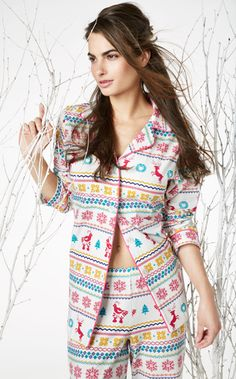 "Bedhead Women's ""Partridge Fair Isle"" Classic Stretch Pajama Set $99.99 - SHOP http://www.thepajamacompany.com/store/19054.html?category_id=11382"