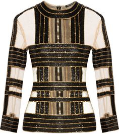 Balmain Embellished Silk and Tulle Top