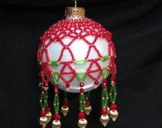 Beaded Christmas Ornament by LindysFancies on Etsy