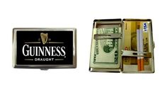 """New Style Guinness Cigarette Money Case or Name Card Free Ship by Siriporn Factory. $19.99. Our brand new high quality silver chrome with a matte finish, cigarette case, wallet, or credit card case, is a double sided case which can hold 16 cigarettes. The size of the case is approximatly 4"""" x 2 1/4"""", and 1/2"""" deep. If you do not smoke it will hold credit cards, money or whatever you want. The image is covered by crystal clear enamel, for long time protection. This is NOT a cheap ..."""