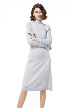 Knitbest Womens Mock Neck Long Sleeve Sweater Dress Long Sleeve Sweater Dress, Knit Sweater Dress, Mock Neck, Knitwear, High Neck Dress, Dresses For Work, Sleeves, Sweaters, Clothes