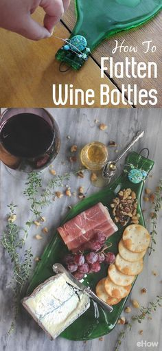 These flatten wine bottles make perfect serving trays for your cheese and meats assortment. Completely ups the status of your next dinner party, and recycles and reuses wine bottles in a fabulous new way.