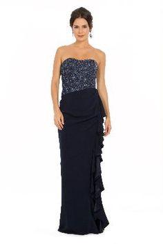 Vestido longo tomara que caia azul marinho com babados na fenda frontal e top bordado com paetês azul marinho