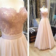 Sweetheart A-line Tulle Prom Dresses, Charming Lace Prom Evening Dresses,Long Prom Dress PDS0376