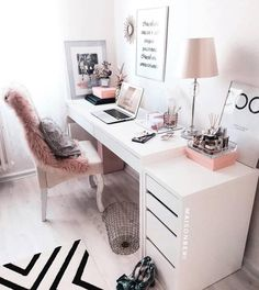31 White Home Office Ideas To Make Your Life Easier; home office idea;Home Office Organization Tips; chic home office. Source by liatsybeauty