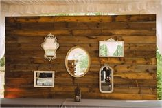 reclaimed wood with vintage style mirrors from Charlotte vintage rentals @thedarlingbee