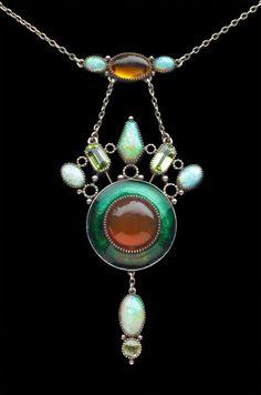Guild of Handicraft; Arts & Crafts Pendant; Silver, Opal, Peridot, Fire Opal; British;  c. 1900