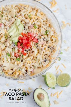 Creamy Taco Pasta Salad with pasta, ground beef and all of your favorite taco fillings. For Taco Tuesday dinner, picnics and potlucks.