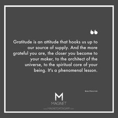 Gratitude is an attitude that hooks us up to our source of supply. #BobProctor #lawofattraction #Quotes #Motivation MagnetDatingApp.com