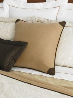 RL Leather trim cashmere pillow