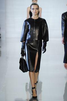 Michael Kors RTW Fall 2013 black leather jacket coat skirt purse gloves