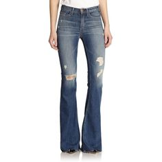McGuire Majorelle High-Waist Flared Jeans featuring polyvore, fashion, clothing, jeans, apparel & accessories, revel revel, retro high waisted jeans, high-waisted jeans, retro jeans, highwaisted jeans and flare jeans