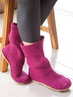 Crochet a pair of slipper boots great crochet gift ideas