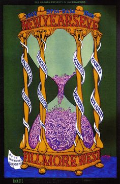 New Years Eve at the Fillmore West 1968-1969; Vanilla Fudge, Richie Havens, Young Bloods, and Cold Blood. $7 included Breakfast .  Poster by Lee Conklin