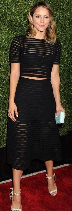 Katherine McPhee: Shirt and skirt – Cynthia Rowley  Shoes – Alejandra G  Jewelry – Melissa Lovy  Purse – Kotur