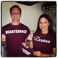 Best pregnancy annoucement ever!  Quarterback Receiver TOUCHDOWN!   Feeling blessed :)