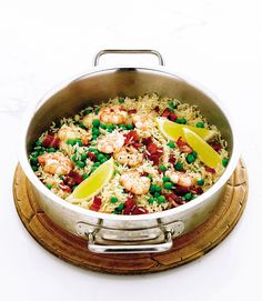 Quick prawn, pea and bacon rice – delicious. magazine Zesty prawn, pea and bacon rice recipe Prawn Recipes, Shellfish Recipes, Rice Recipes, Seafood Recipes, Cooking Recipes, Cooking Ideas, Creamy Peas, Paella Recipe, Midweek Meals