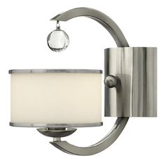 Has potential. Unscrew bottom lightshade part and swap out. http://www.wayfair.com/Hinkley-Lighting-Monaco-1-Light-Wall-Sconce-4850BC-HD5250.html