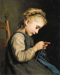 Girl Knitting by Albert Anker (1831-1910)