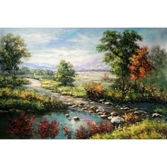 Real Handmade Landscape Oil painting Landscape Art, Fine Art, Oil Paintings, Water, Landscapes, Handmade, Outdoor, Fabrics, Gripe Water